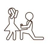 Pictogram marriage proposal happy bride Royalty Free Stock Photo