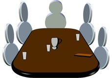 Pictogram of meeting. With icons in 3d and brown table  on white Royalty Free Stock Photography