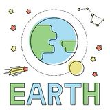Pictogram met aarde en maan royalty-vrije illustratie