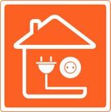 Pictogram met huis en contactdoos met stop Stock Afbeeldingen