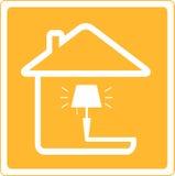 Pictogram met lamp en huis Stock Foto's