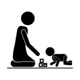 Pictogram mom playing baby with cubes Stock Photography