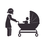 Pictogram monochrome with mom and baby in pram Stock Image