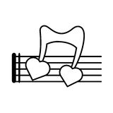 Pictogram musical staff note hearts love design. Vector illustration eps 10 Stock Photography
