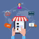 Pictogram online winkel verkoop Internet Vlakke stijl Stock Foto