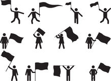 Pictogram people carrying flags Stock Photos