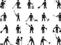 Pictogram people cleaning Royalty Free Stock Photo