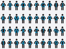 Pictogram people holding letters and numbers Royalty Free Stock Photos