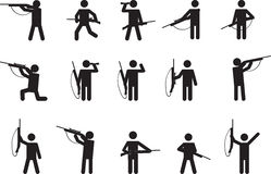 Pictogram people with hunting guns Royalty Free Stock Photo