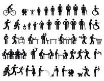 Pictogram of people growing up. Illustration of children growing up, becoming adults, taking part in lots of activities including cycling, gardening, shopping Royalty Free Stock Photos