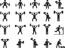 Pictogram people with weights Stock Photos