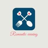 Pictogram romantische avond Stock Afbeelding