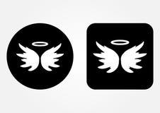 Pictogram schematisch beeld van een engel Nimbus, Vleugels Stock Afbeeldingen
