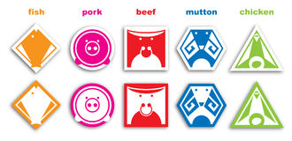 Pictogram. Set of pictograms fish, pork, beef, mutton, chicken Royalty Free Stock Photo