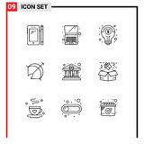 Pictogram Set of 9 Simple Outlines of bank home, point, financial, target, archery