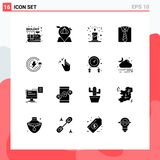 Pictogram Set of 16 Simple Solid Glyphs of ecology, fathers day, map, father, clothes