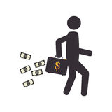Pictogram silhouette man with bag and dollars flying. Vector illustration Royalty Free Stock Photo