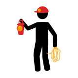 Pictogram silhouette with miner with flashlight Royalty Free Stock Photos