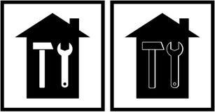 Pictogram twee met hamer, moersleutel en huis Stock Foto