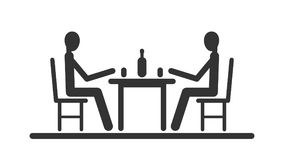 Pictogram two stick figure sitting at the table. Pictogram two stick figure sitting at the table and to drink out of glasses. Flat vector illustration,eps 10 Stock Image