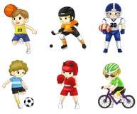 Pictogram van de beeldverhaal het mannelijke atleet in divers type van sport Stock Afbeelding