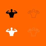 Pictogram van de bodybuilder het zwart-witte kleur Stock Foto