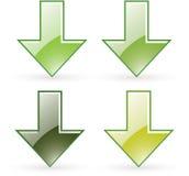 Pictogram van de de download het groene knoop van de pijl Stock Foto's