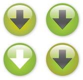 Pictogram van de de download het groene knoop van de pijl Royalty-vrije Stock Foto's