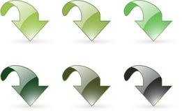 Pictogram van de de download het groene knoop van de pijl Stock Fotografie