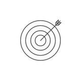 Pictogram van de doel schetst het dunne lijn, bullseye vectorembleemillustratie royalty-vrije illustratie
