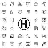 pictogram van de helikopter het landende plaats Gedetailleerde reeks minimalistic lijnpictogrammen Premie grafisch ontwerp Één va royalty-vrije illustratie