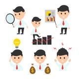 Pictogram van de het karakterillustratie van het zakenman het vlakke die ontwerp voor presentaties of websites wordt geplaatst Stock Afbeeldingen