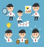 Pictogram van de het karakterillustratie van het zakenman het vlakke ontwerp voor presentaties of websites Stock Afbeelding