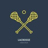 Pictogram van de lacrosse het vectorlijn Bal en stokkenembleem, materiaalteken royalty-vrije illustratie