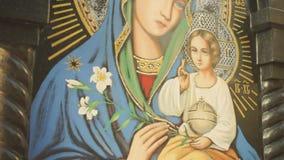 Pictogram van de Moeder van God stock footage