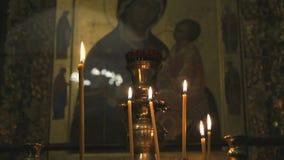 Pictogram van de moeder van God in de tempel Close-up stock footage