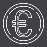 Pictogram van de muntstuk het euro lijn, zaken en financiën, geld Stock Afbeelding