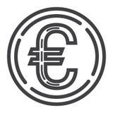 Pictogram van de muntstuk het euro lijn, zaken en financiën, geld Royalty-vrije Stock Fotografie
