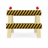 Pictogram van de omheinings het lichte bouw In aanbouw, de barrière van het straatverkeer Zwarte en gele strepen met lichten Royalty-vrije Stock Afbeelding
