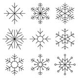 Pictogram van de sneeuwvlok het vlakke lijn Royalty-vrije Stock Afbeeldingen