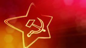 Pictogram van de USSR Achtergrond van gloeddeeltjes als vitrtual hologram wordt gemaakt dat 3D naadloze animatie met diepte van g stock video
