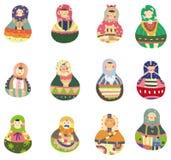 Pictogram van Doll van het beeldverhaal het Russische Royalty-vrije Stock Fotografie