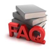 Pictogram van FAQ met erachter boeken Royalty-vrije Stock Foto