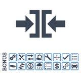 Pictogram van Glyph van de pers het Horizontale Richting Vlakke met Bonus Royalty-vrije Stock Afbeelding