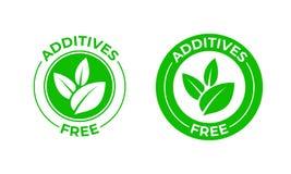 Pictogram van het additieven het vrije vector groene organische blad Vrije additieven geen toegevoegd, natuurlijk natuurvoedingpa stock illustratie