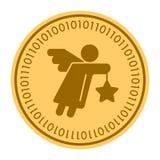 Pictogram van het engelen het gouden digitale muntstuk Vectorstijl het gouden gele vlakke symbool van muntstukcryptocurrency Geïs vector illustratie