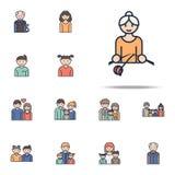 pictogram van het grootmoeder het breiende beeldverhaal Voor Web wordt geplaatst dat en het mobiele algemene begrip van familiepi stock illustratie