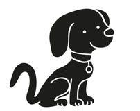 Pictogram van het hond het zwarte silhouet Royalty-vrije Stock Afbeelding