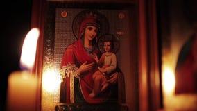 Pictogram van Maagdelijke Mary stock video