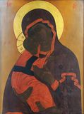 Pictogram van Moeder van God en kind (Jesus-Christus) stock fotografie